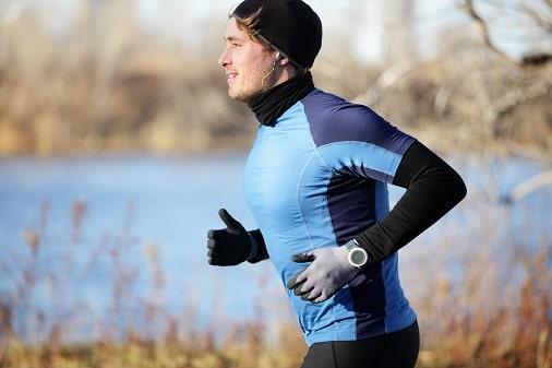 Runner Man Wearing Gloves